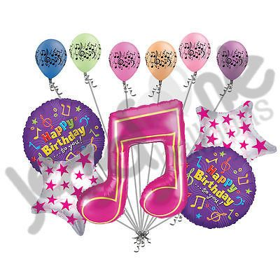 Pink Music Note Happy Birthday Balloon Bouquet