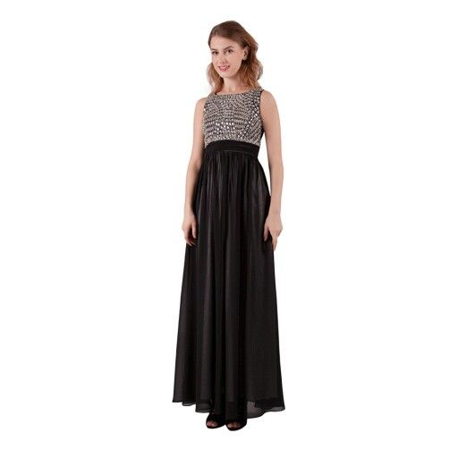 Do you like bling? This black formal dress is the one.