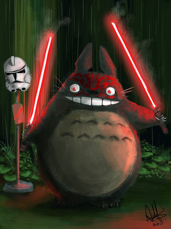 Darth TotoroStudios Ghibli Inspiration, Animal Film, 30 Studios, Darth Totoro, Star Wars, Stars Wars, Sith Totoro, Ghibli Inspiration Artworks, Starwars