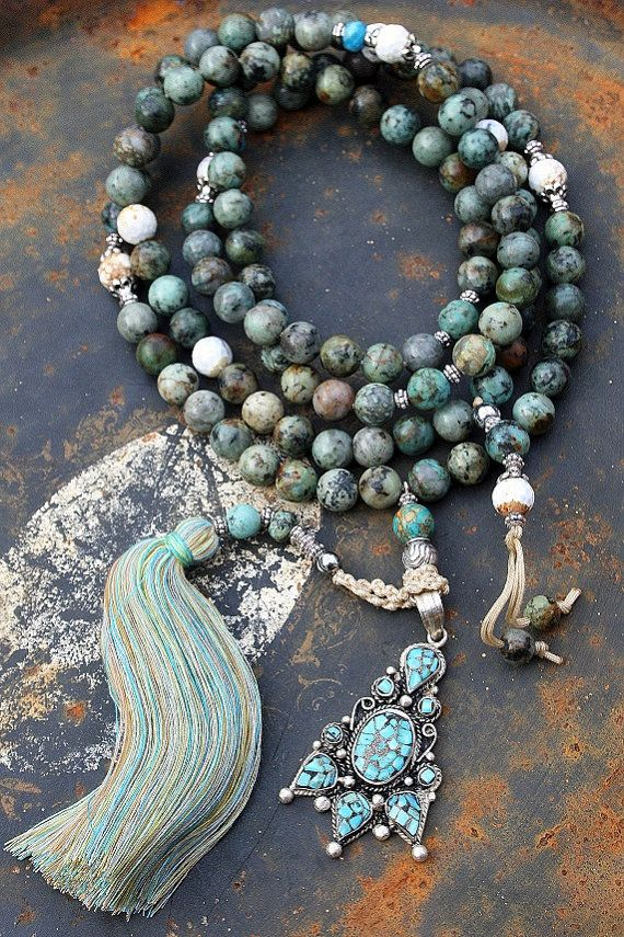 Mala made ​​of 108, 10 mm - 0.394 inch, African turquoise gemstones and decorated with a Nepalese pendant - look4treasures on Etsy