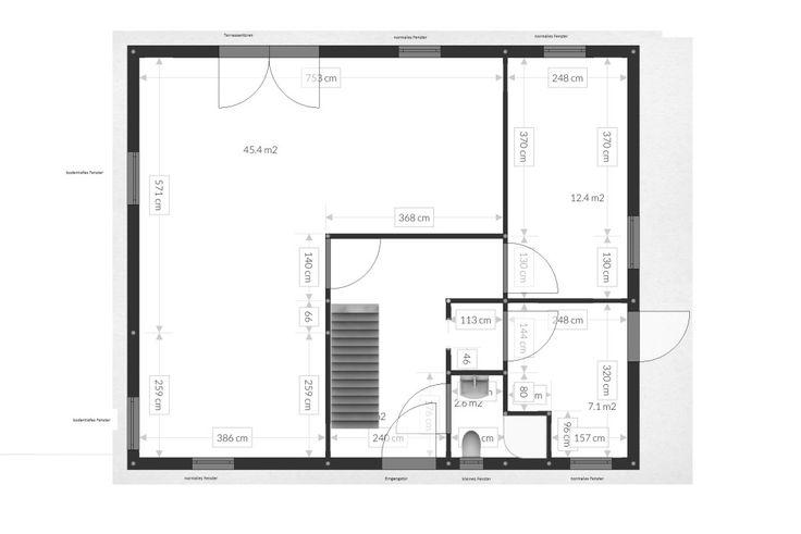 Unser Roomle Grundriss Erdgeschoss - wie wir unsere Grundrisse für den Hausbau selbst erstellen und gut vorbereitet sind für die Finalisierung bei der Bemusterung beim Bauträger