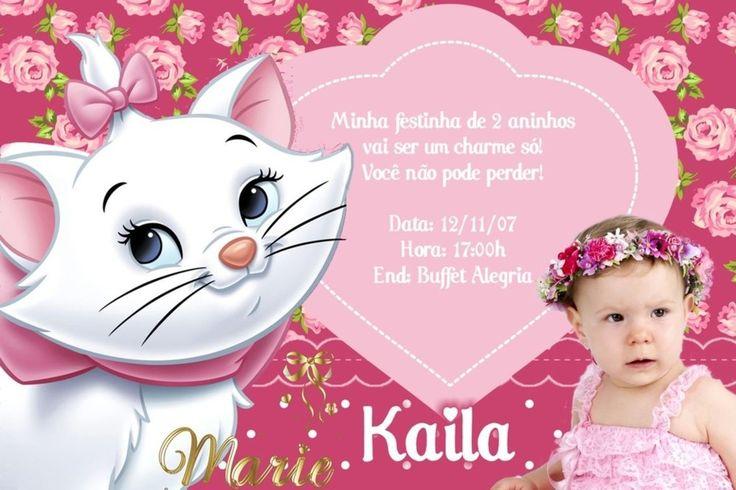 Convite digital personalizado da Gatinha Marie com foto 001