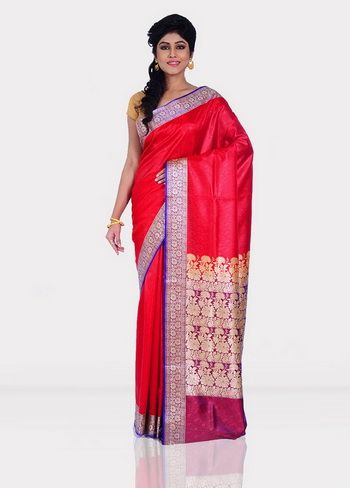 Red Dupion Silk Saree With Blouse.