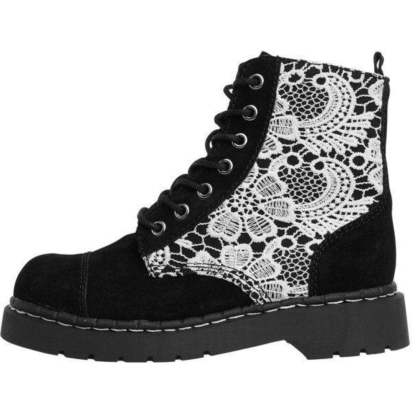 Black Suede & White Crochet Anarchic Combat Boots | T.U.K. Shoes ($115) ❤ liked on Polyvore featuring shoes, boots, ankle booties, black, floral combat boots, black booties, combat booties, black army boots and crochet booties
