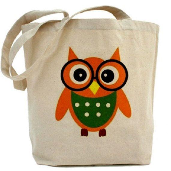 OWL Tote Bag - Cotton Canvas Tote Bag
