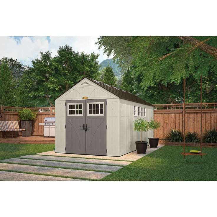 This durable, double-wall resin, Suncast constructed 8' x 16' shed is the ultimate storage unit for any do-it-yourself type of person. Metal truss and ridge beam with a steep roof pitch provides easy snow and rain run-off. From the inside, four corner shelves with 8 optional locations that work well with the VersaTrack system (02930), 10 skylights, 4 windows and a functional air vent for circulation, provide the facilities of a home. Robust double doors with lockable metal handles and...