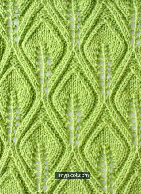 MyPicot | Free crochet patterns  Leaf Lace Stitch: Diagram + step by step instructions