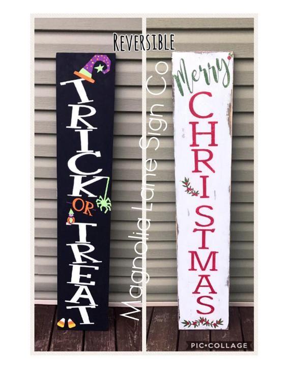Handgemaltes hölzernes Portalzeichen! Reversibel!! Ernte auf einer Seite und Frohe Chris …   – Christmas front porch