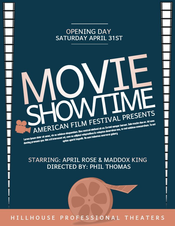 Movie Showtime Flyer Poster Design Social Media Template Film Poster Design Templates Movie Showtimes