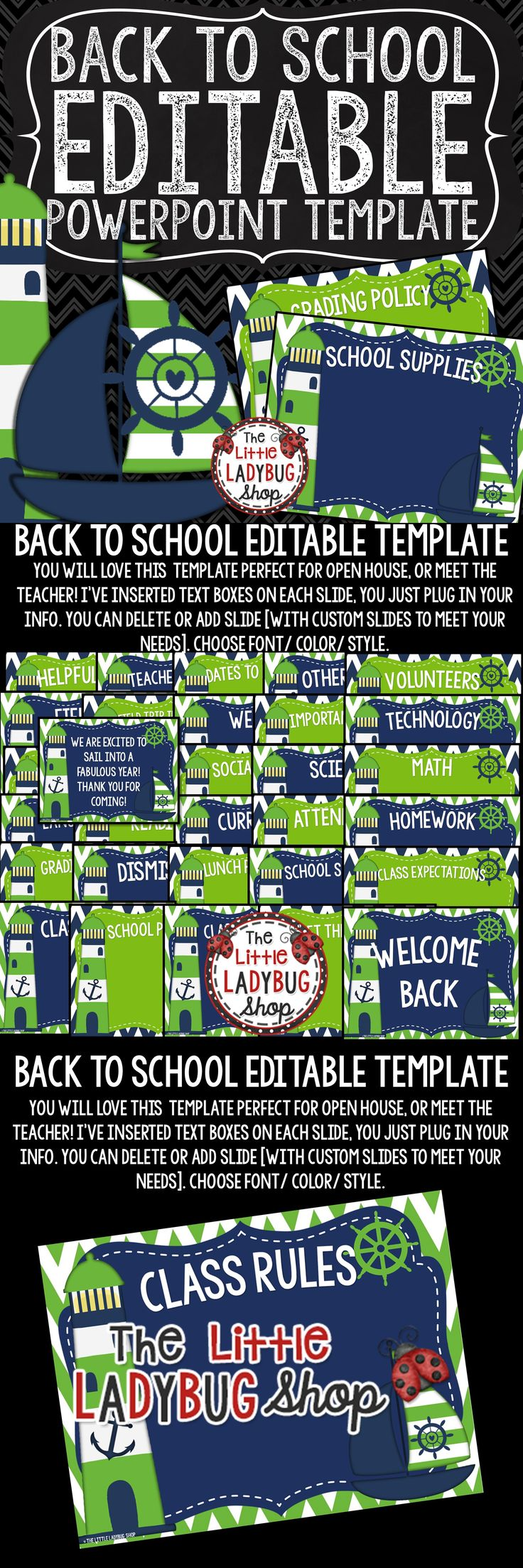 Nautical Theme Back To School Night PowerPoint Template ~ Open House ~ Meet The Teacher to present all your important information to your class and parents. This BEAUTIFUL NAUTICAL CLASSROOM THEME is perfect for Open House, Meet the Teacher, and other school functions! This template is created in PowerPoint and it is 100% EDITABLE for you to plug in your classroom information!