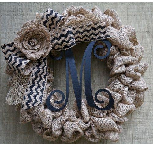 burlap, chevron burlap ribbon, a burlap flower, and initial