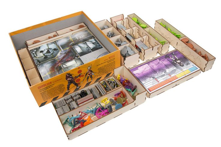 Your game box is under attack! The best defense is our Zombicide Season 2 Organizer. Our system of 9 removable trays will hold figures, cards, dice, tokens and board pieces to make setup and tear-down