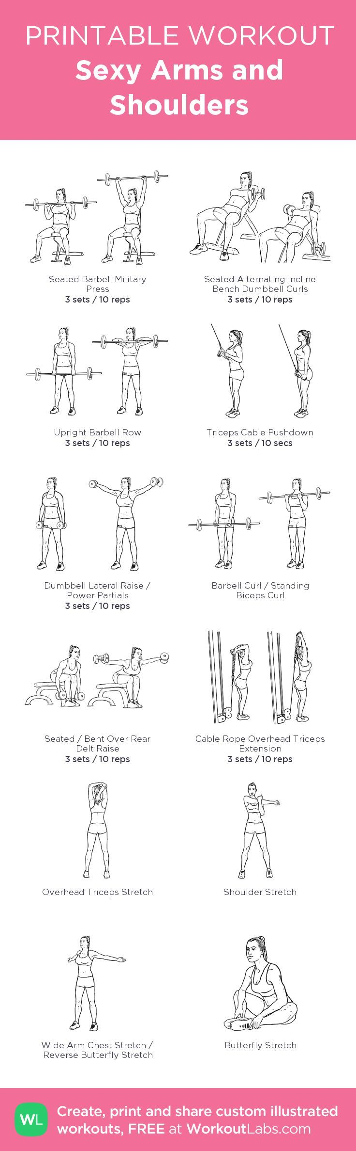 Sexy Arms and Shoulders: my visual workout created at WorkoutLabs.com • Click through to customize and download as a FREE PDF! #customworkout: