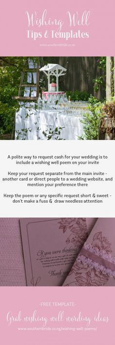 Many couples now request money or gift vouchers in lieu of receiving multiple platters, toasters and vases for their wedding. Here are some ways to ask for money via a wishing well  including a downloadable sheet with copy and paste text   http://www.southernbride.co.nz/wishing-well-poems/