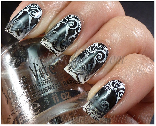 31DC2012 Day 7 - Black & White Nails 11 by NailsandNoms, via Flickr
