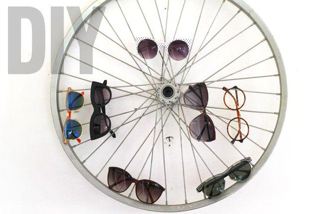 DIY sunglasses display. http://blog.swell.com/DIY-Sunglass-Bike-Wheel-Display