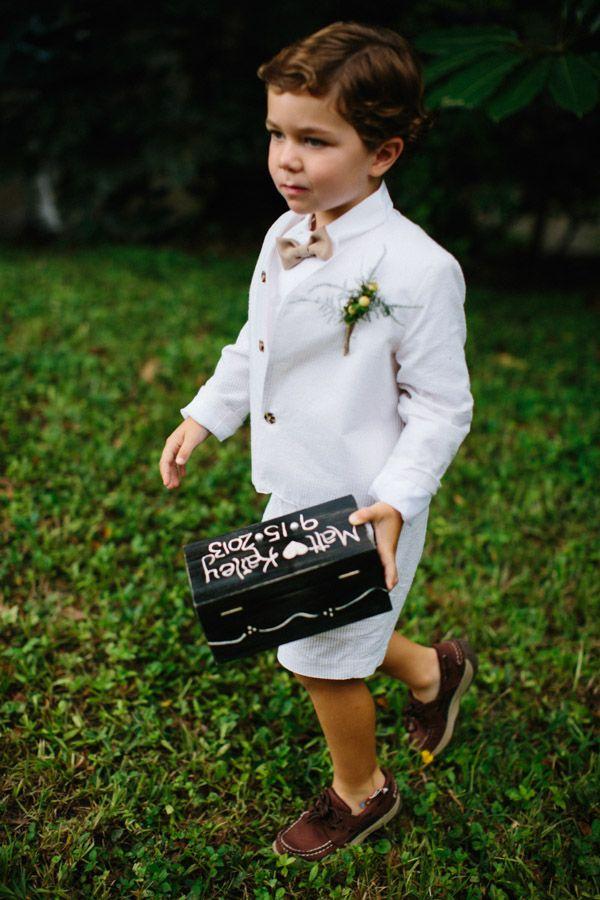 super cute ring bearer with diy ring box #ringbearer #ringbox #weddingchicks http://www.weddingchicks.com/2014/01/30/time-travel-wedding/