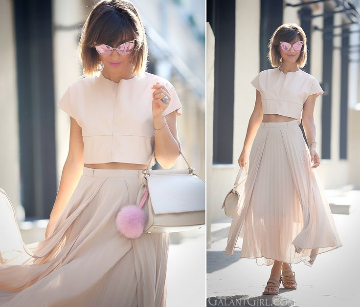 nude-summer-outfit-with-nude-pleated-skirt-fashion-blogger-galant-girl