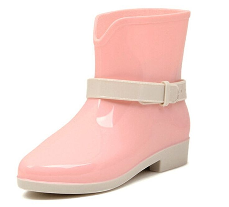 KISS GOLD(TM) Girlish Candy Color Soft Rubber Ankle Rain Boots * Details can be found by clicking on the image.