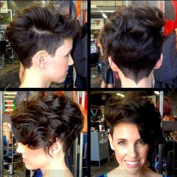 Vogue Short Curly Hairstyle for Women: One Side Shaved Haircuts
