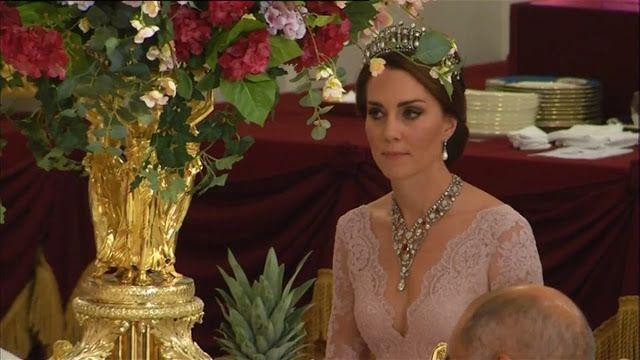 Herttua ja herttuatar Cambridge juhlapäivällisillä Buckingham Palace varten #SpainStateVisit