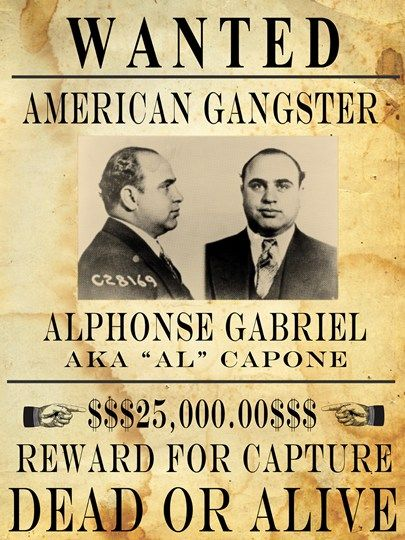 Vintage Al Capone Wanted Poster