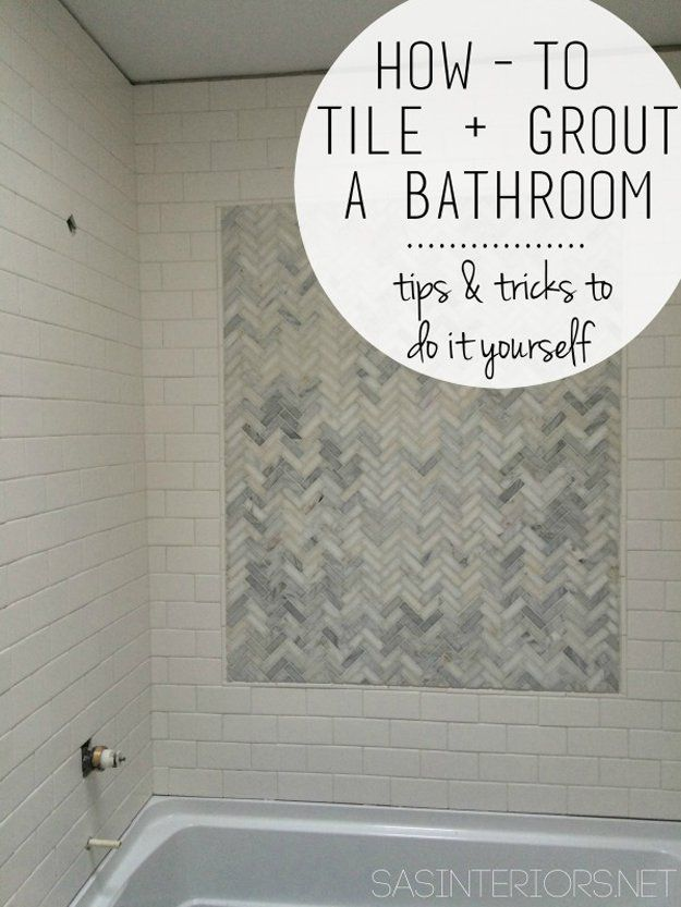 How to tile & grout a bathroom | DIY Bathroom Makeover Ideas | https://diyprojects.com/incredible-diy-bathroom-makeover/