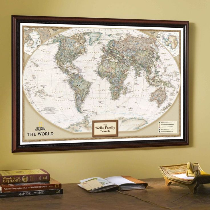 World Executive Map Antique Tones Two