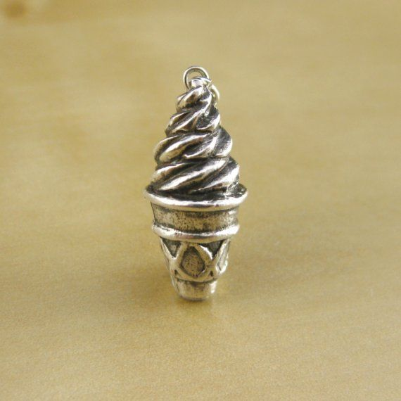 Ice Cream Cone Sterling Silver Charm