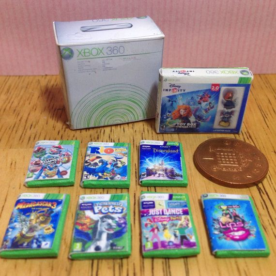 Dolls house handmade miniature xbox 360 bundle (girls) - console, disney infinity toy box  and 7 girly games 1/12 scale