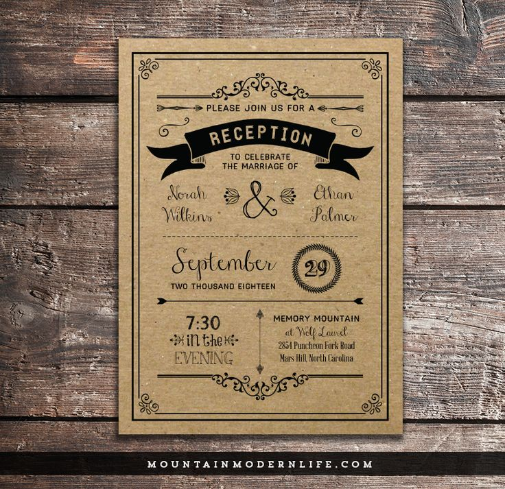 Black Rustic DIY Reception Only Invitation via @MtnModernLife