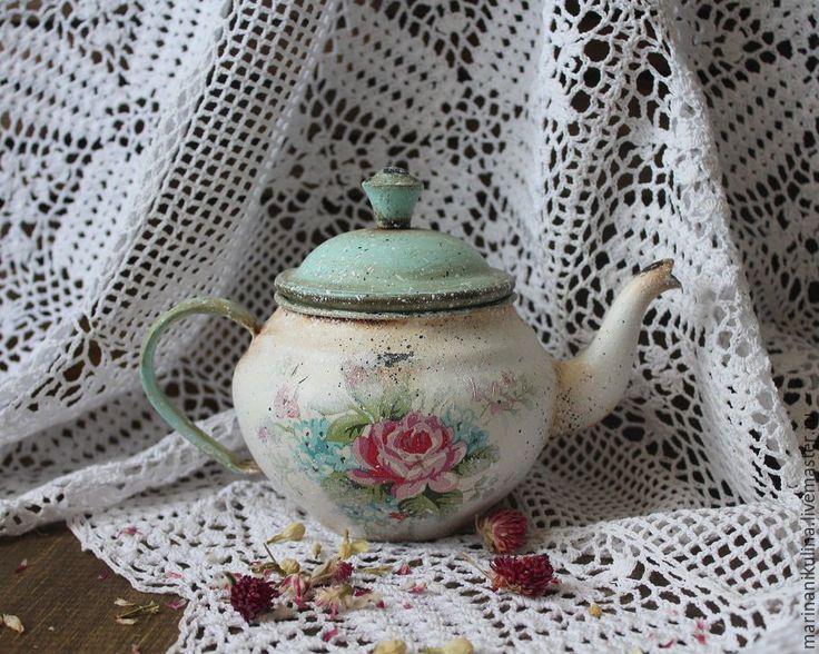 """Купить """"Шебби"""" чайник - голубой, розочка, розовый, розочки, чайник, чайничек, декор для интерьера"""