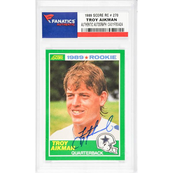 Troy Aikman Dallas Cowboys Fanatics Authentic Autographed 1989 Score #270 Rookie Card - $249.99