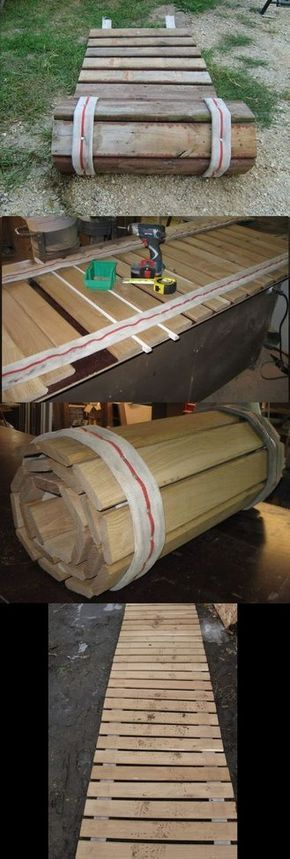 Portable roll-up sidewalk made from pallet wood and old fire hose. Great for rainy season or camping.