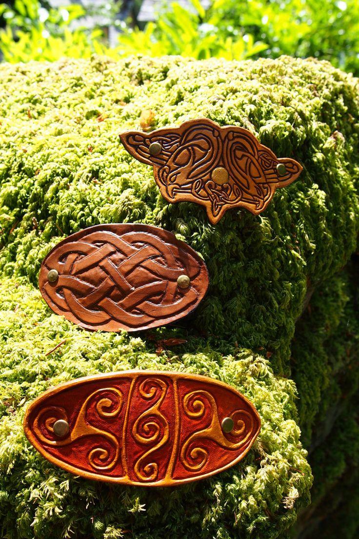 Leather Barrettes - set of 3 , Barrette, Leather Barrette, Celtic Barrette, Hair Clip by PocillatorWorkshop on Etsy