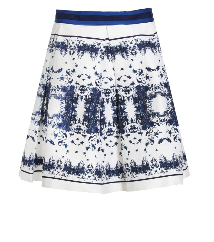 Alannah Hill - Take Your Time Skirt- Take Your Time skirt is a crisp silk cotton ottoman style in an exclusive Alannah Hill delft inspired print. Features contrast grosgrain waistband and finished with pleats, this skirt is a shorter length.