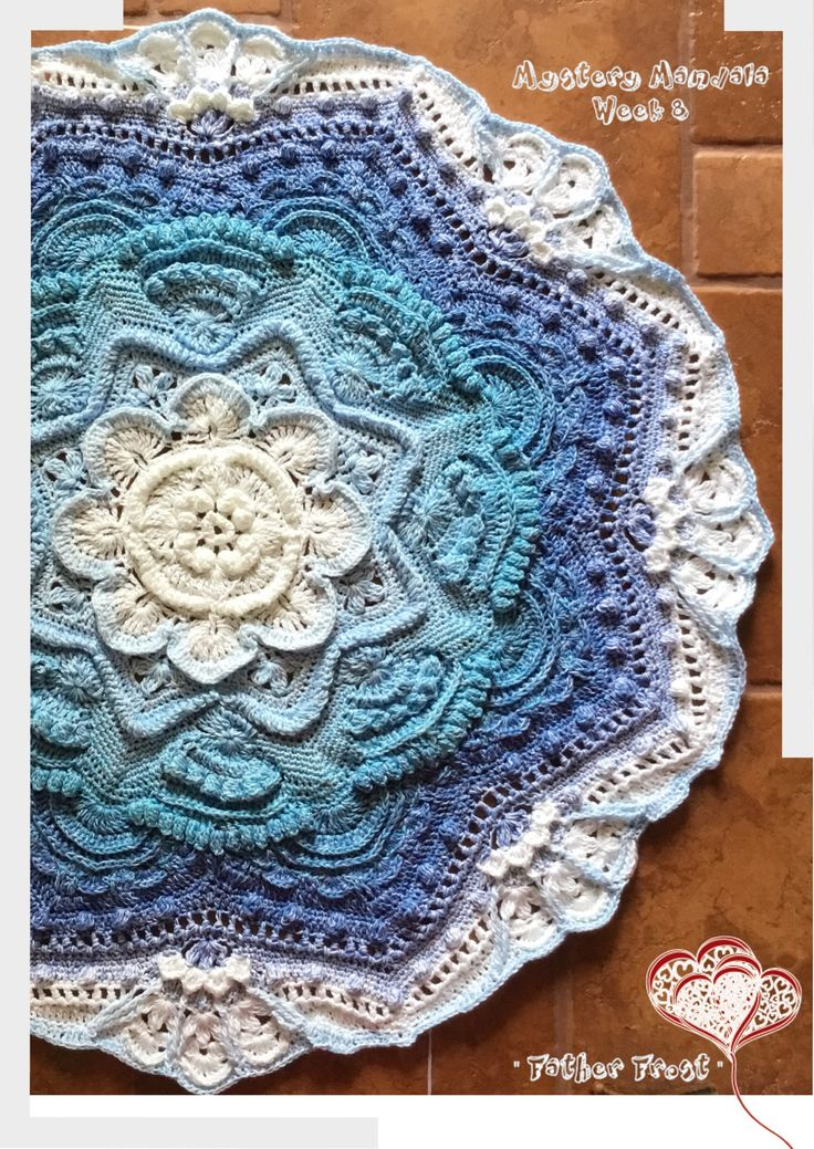 "Mandala Madness  "" Father Frost "" Week 8  http://www.crystalsandcrochet.com/introducing-mandala-madness-cal/"