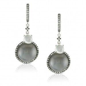 Blue and White Moonstone Diamond Earrings