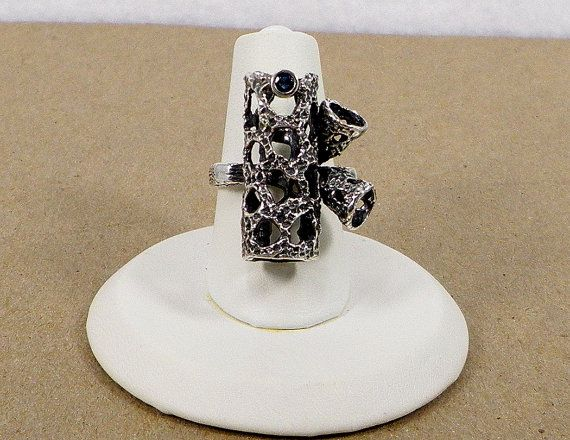 Sapphire Sterling Silver Funky Organic-Looking Textured Tubes Character Ring, $124.00