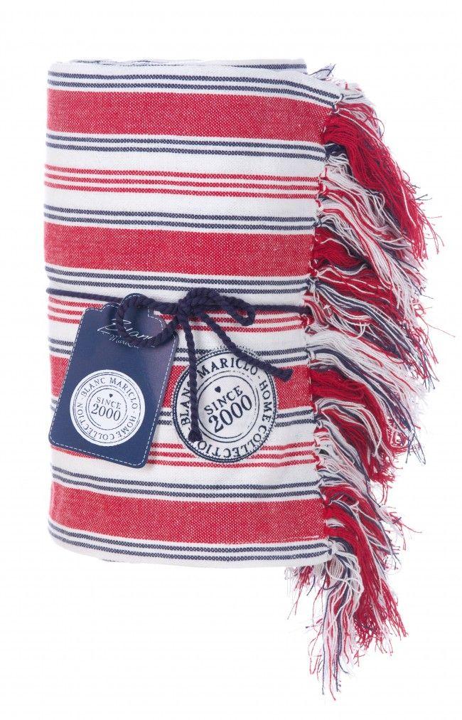 Coperta cotone 180x260 a righe rosse e bianche Blanc MariClò - TRAPUNTE E PLAIDS - TESSILE