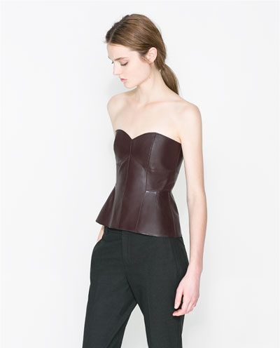 Ooh, leather bustier in always appropriate oxblood, you pair beautifully with tweeds and cardigans. To Zara I go...  Image 1 of LEATHER BUSTIER from Zara