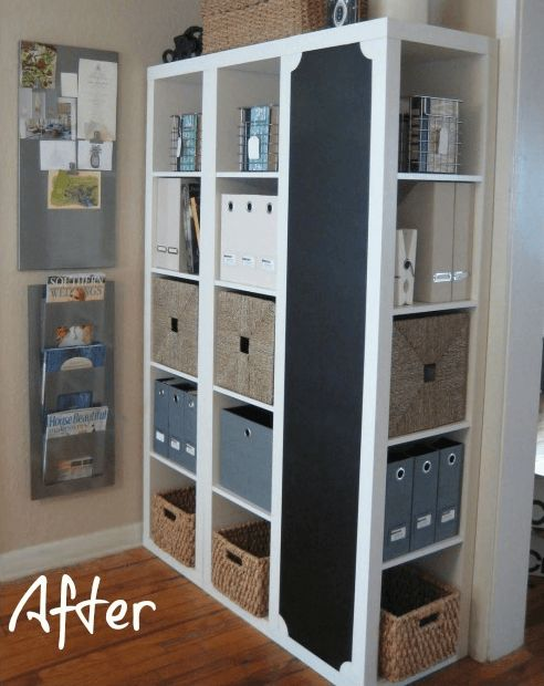 IKEA Hack DIY Command Center with Storage and Chalkboard by Iron & Twine