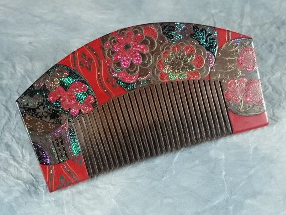 "Vintage Lacquering Hair comb ""Kushi"" signature ""定香"" /   Geisha hair combo  /Japanese vintage / Japonism  / Japón"