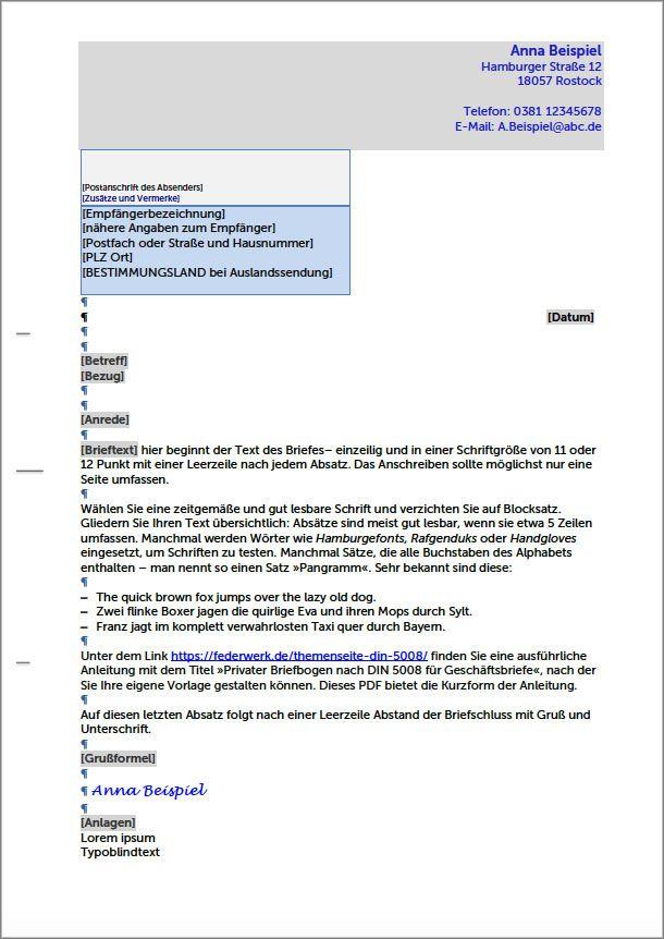 Privater Briefbogen Nach Din 5008 Fur Geschaftsbriefe Federwerk In 2021 Geschaftsbrief Briefbogen Offizieller Brief