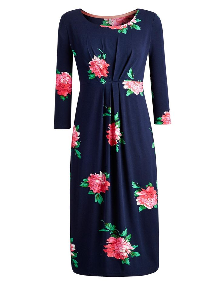 Joules Womens Below The Knee Dress, French Navy Peony.                     Our best seller is back! If you're looking for a midi length dress, cut to sit below the knee then look no further.  In our signature stripes or statement floral and crafted from soft jersey this dress, with a wide, higher neck line, it's sure to be a go-to favourite.