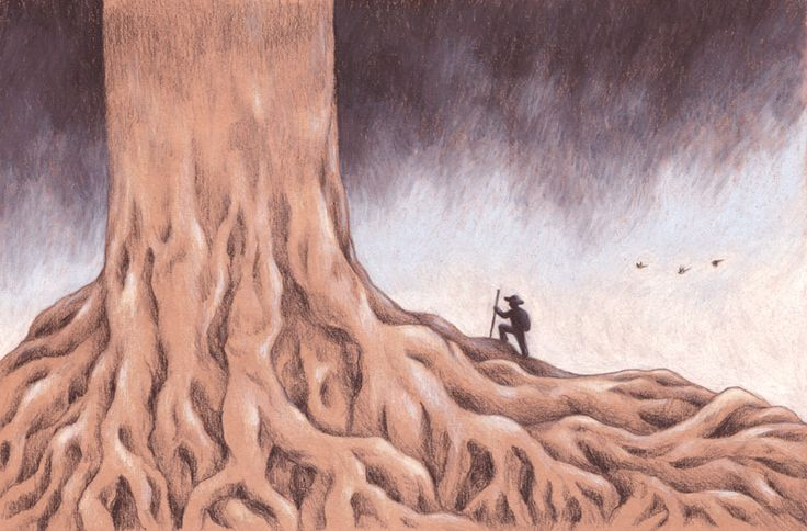 """Tree seeker n.2"" pencil illustration by Sarah Khoury, 2014"