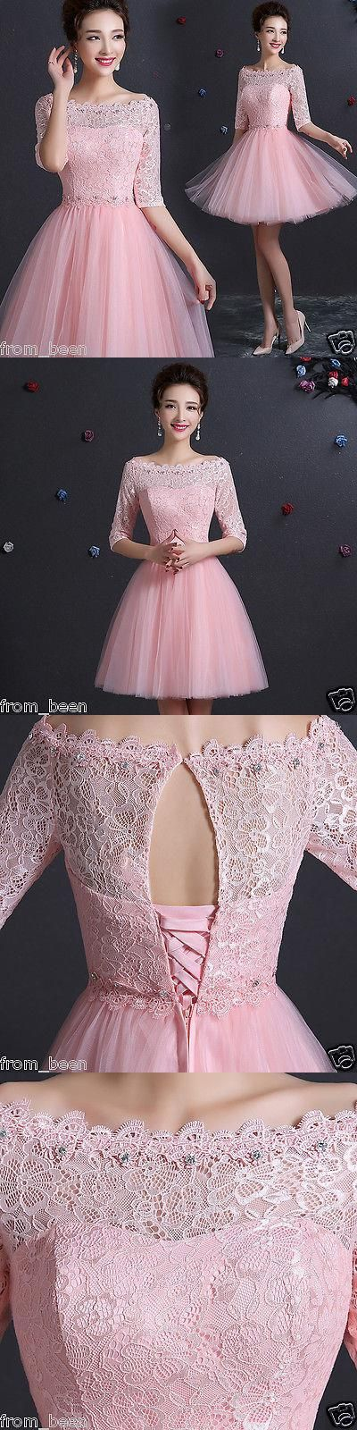 Lace Homecoming Dress with Pink Sleeve,Pink Homecoming Dress,Short Prom