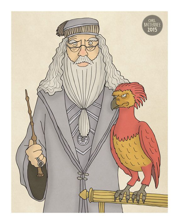 Albus Dumbledore and Fawkes the Phoenix   Harry by CarlBatterbee
