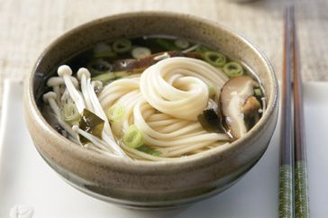 """Miso soup with soba noodles & mushrooms""  Protein-packed mushrooms and buckwheat noodles make this soup delicious and healthy."
