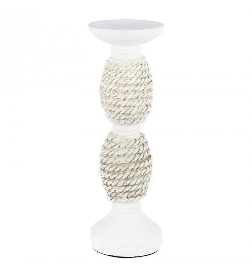 POLYRESIN CANDLE HOLDER IN WHITE_BEIGE 11X11X30